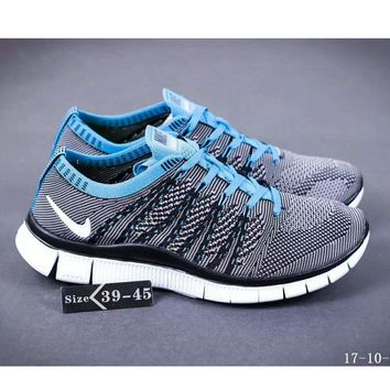 Nike NIKE FREE FLYKNIT NSW barefoot line running shoes high quality perfect new goods F-SSRS-CJZX Grayish blue