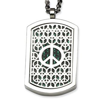 Stainless Steel Peace Symbol & Crosses Reversable Dog Tag 22in Necklace