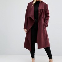 ASOS CURVE Waterfall Trapeze Coat at asos.com