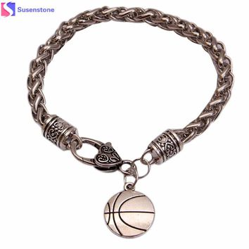 Unisex Polished Stainless Steel Bracelet with Charm