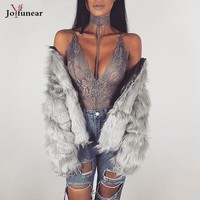 Slim Eyelash lLace Halter Hollow Out Sexy Bodysuit  Women  Sleeveless Elegant Jumpsuit Party  Top Outfits