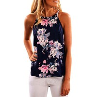 2017 New Summer Vest Sleeveless Floral Print Loose Zipper Women Tanks Short O Neck Vest Hot Top Casual Tank Tops Ladies #23