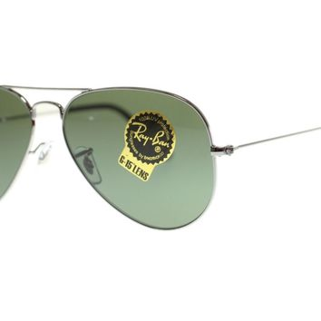 Ray Ban Aviator Men's Sunglasses RB3025 W0879 Gunmetal/Grey Green 58mm Authentic