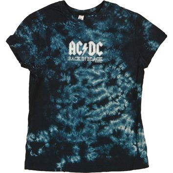 AC/DC  Back In Black Girls Jr Tie Dye Tee Black