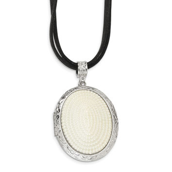 Silver-tone Simulated Pearl Oval Locket on 30in Double Cord Necklace BF688