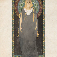 The Lord of the Rings poster Galadriel - Lady of the Galadhrim / art nouveau