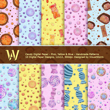 Candy Digital Paper, pink, yellow & blue printable backgrounds, scrapbooking, parties, card making, banners, invites, Buy 2 Get 1 Free