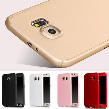 360 Degree Full Body Phone Case for Samsung Galaxy S6 S7 Hybrid Front Back Cover Capa para Fundas+Tempered Glass Film