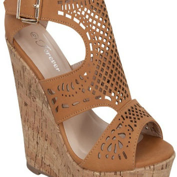 Cork Open Toe Wedges, Tan