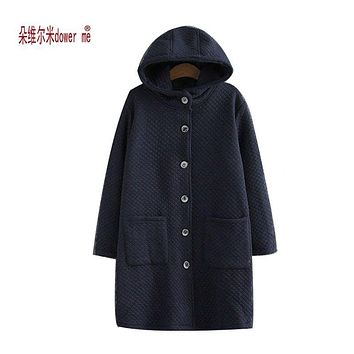 dower me Winter Women Jacket 2017 New Women Hooded Warm Medium long Down Cotton Coat Solid color Slim Large size Female Parkas