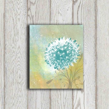 Gift idea Dandelion printable Teal Home decor print Green yellow Wall art Home decor Living room Bedroom wall decor 5x7 8x10 Abstract flower