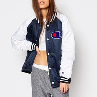 Champion | Champion Contrast Sleeve Bomber Jacket With Back Logo at ASOS
