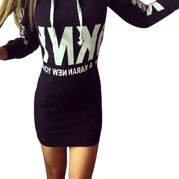 Women Letter Print Black Drawstring Hoodie Dress