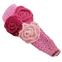 Amazon.com: Pink Knit Hand Made Headband With Three Crocheted Flowers: Clothing