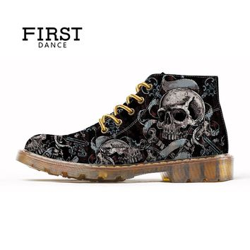 Mens Skull Shoes For Men Dr Martins Shoes Skeleton Print Black Warm Ankle Shoes Man Oxfords Winter Boot