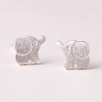 925 sterling silver silver jewelry fashion contracted (drawing elephant stud earrings) earrings