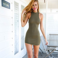 Cut Out Back Bodycon Dress  12059