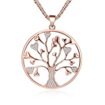 Women's Necklace,Celtic Tree of Life Pendant Necklace for Girls Long Chain Necklace with CZ Crystal