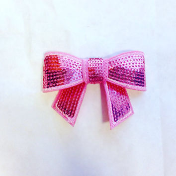 Pink Hair Bow-Breast Cancer Hair Bow-Hair Clip-Hair Clip-Hair Accessories-Sequin Hair Bow-Glitter Hair Bow