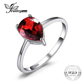 JewelryPalace Pear 1.4ct Natural Red Garnet Birthstone Solitaire Ring 925 Sterling Silver 2017 Brand Fashion Jewelry For Women
