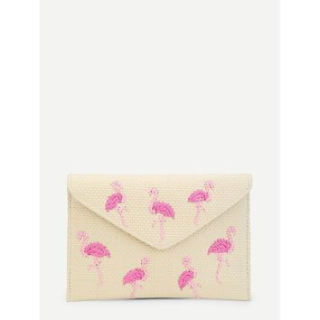 Flamingo Pattern Woven Clutch Bag