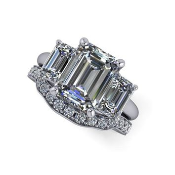 Diamond Bridal Set - Three Stone Ring Engagement Ring Emerald Cut SUPERNOVA Moissanite Ring