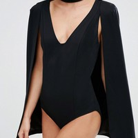 Lavish Alice Keyhole Neck Plunge Cape Body at asos.com