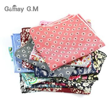 High Quality Hankerchief Scarves Vintage Hankies Floral print Men's Pocket Square Handkerchiefs 100% Cotton 24*24cm Hanky