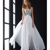 Jasz Couture 5002 White Chiffon & Beaded Strapless Prom Gown 2015 Prom Dresses