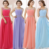 Sweet Chiffon Crystal Belt Evening Dress 2015 New Bride Wedding Party Gown Floor Length Bridesmaid Dresses Formal Dress = 1929368068