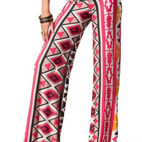 Homegrown Hippie Aztec Palazzo Pants - Red