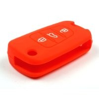 TOFNK 3 Buttons Remote Skin Jacket Silicone Cover KEY Case Holder BAG Key Fob Skin Covers replacement for KIA Sportage Optima Rio Soul (Red)