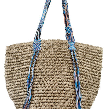 Boho Woven Bag - Natural Turquoise