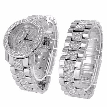 Designer Iced Out 14k White Gold Finish Watch Bracelet Set Techno Pave Lab Diamond