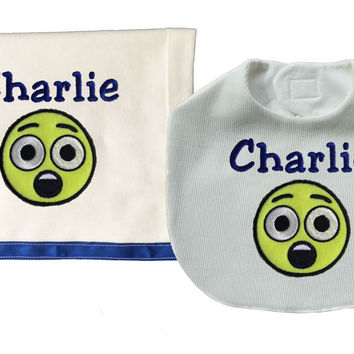 Baby Boy Astonished Face Emoji Personalized Embroidered Bib and Burp Cloth Set