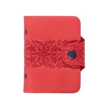 Leather business card holder, Leather card book, Card wallet, Red Leather wallet for business card
