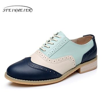 Women genuine leather casual handmade oxford shoes vintage flats shoes