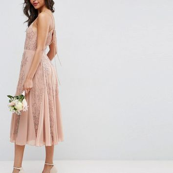 ASOS WEDDING Embellished Cami Strappy Midi Dress at asos.com