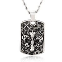 Crucible Stainless Steel Fleur de Lis Medieval Dog Tag Pendant Necklace | Overstock.com Shopping - The Best Deals on Men's Necklaces