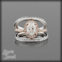 14kt Rose Gold GIA Certified Oval Diamond Engagement Ring with Two Eternity Wedding Bands - LS2425