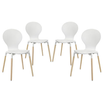LexMod Path Dining Chair, White, Set of 4