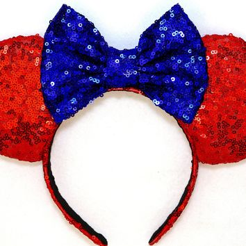 Princess Snow White - Red Sequin Ears and Royal Blue Bow