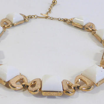 Vintage Choker Gold Tone Links and White Acrylic Cabachons Vintage Jewelry Chocker Mothers Day Wedding Statement Necklace