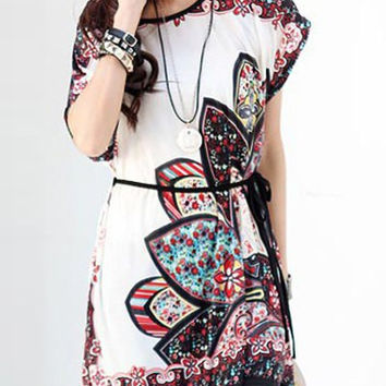 Multi Color Short Sleeves Printed Mini Dress
