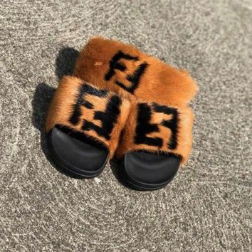 Fefe custom mink fur slides and headband set