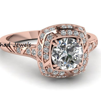 Round Cut Cz Double Halo Engagement Ring with 925 Sterling Silver Rose Gold Plated Wedding Ring Antique Square Micropave Diamond Ring
