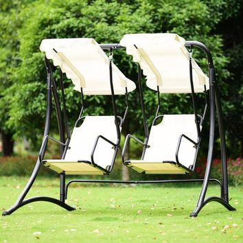 Giantex 2 Person Hammock Porch Swing Patio Outdoor Hanging Loveseat Canopy Glider Swing Outdoor Furniture