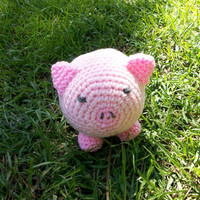 PINK PIGLET in Plush - a stuffed, plush, roly poly, round, Amigurumi-style toy barnyard animal