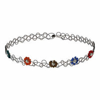 Beaded Flower Tattoo Choker - Multi