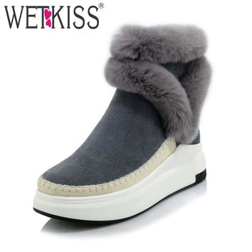 WETKISS 2018 Brand Women Ankle Boots Suede Leather Fashion Fur Zipper Wedges Shoes Woman Platform Winter Boots Female Footwear